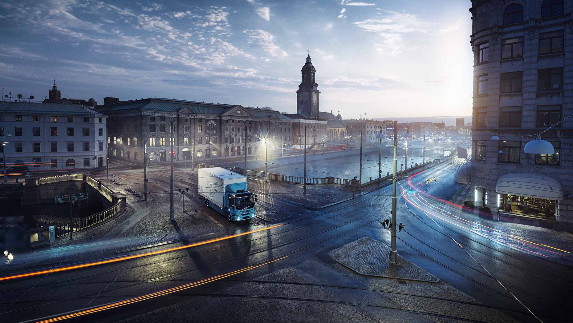 Volvo FL Electric w centrum Goeteborga